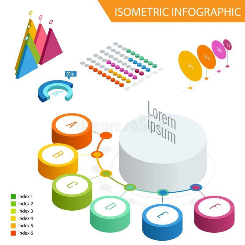 Infographic isometrico piano 3d per le vostre presentazioni di affari Grande insieme del infographics con le icone di dati, grafi illustrazione di stock