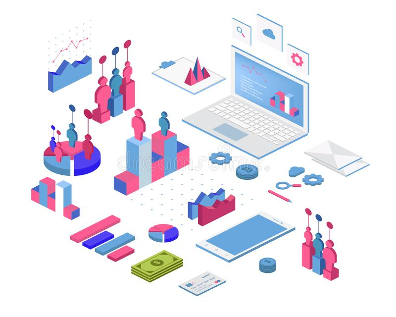 Infographic isometrico piano 3d per le vostre presentazioni di affari Grande insieme del infographics con le icone di dati, i gra illustrazione di stock