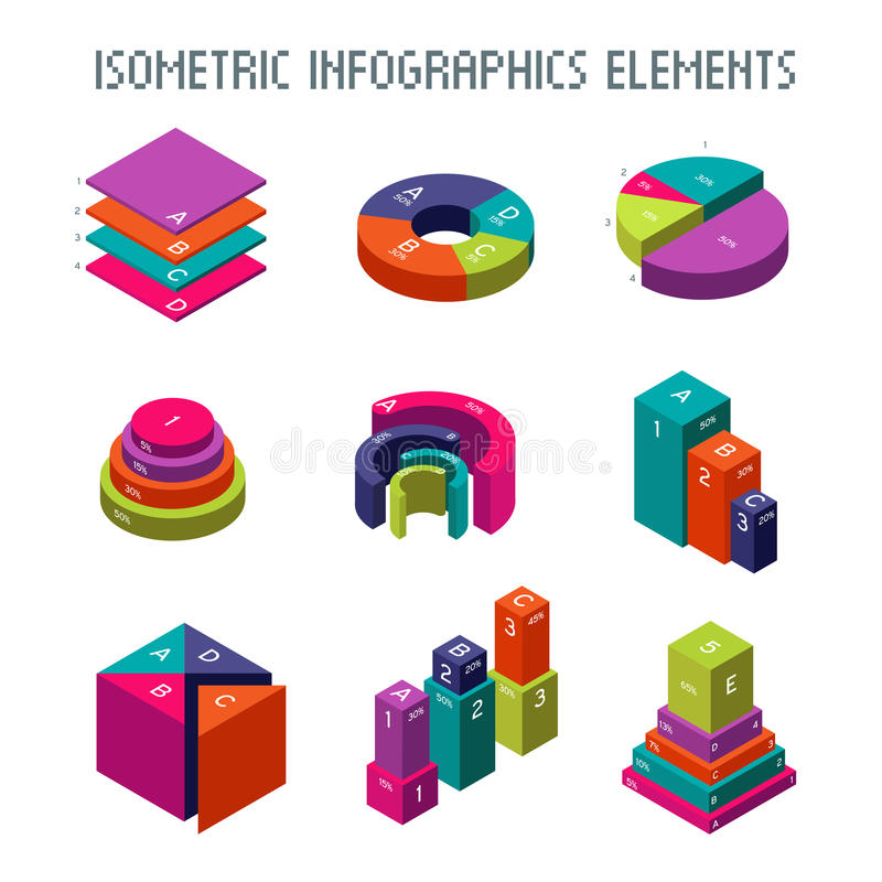 Infographic isometrische vectorelementen 3d pasteigrafiek, grafieken en vooruitgangsbars royalty-vrije illustratie