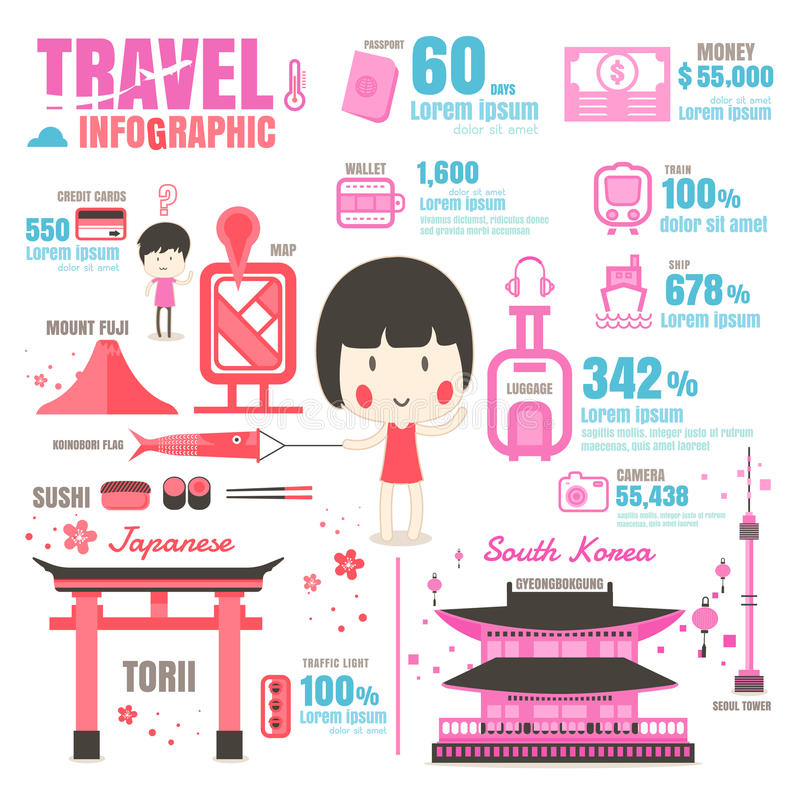 Infographic Japan, Sydkorea På vitbakgrund vektor illustrationer