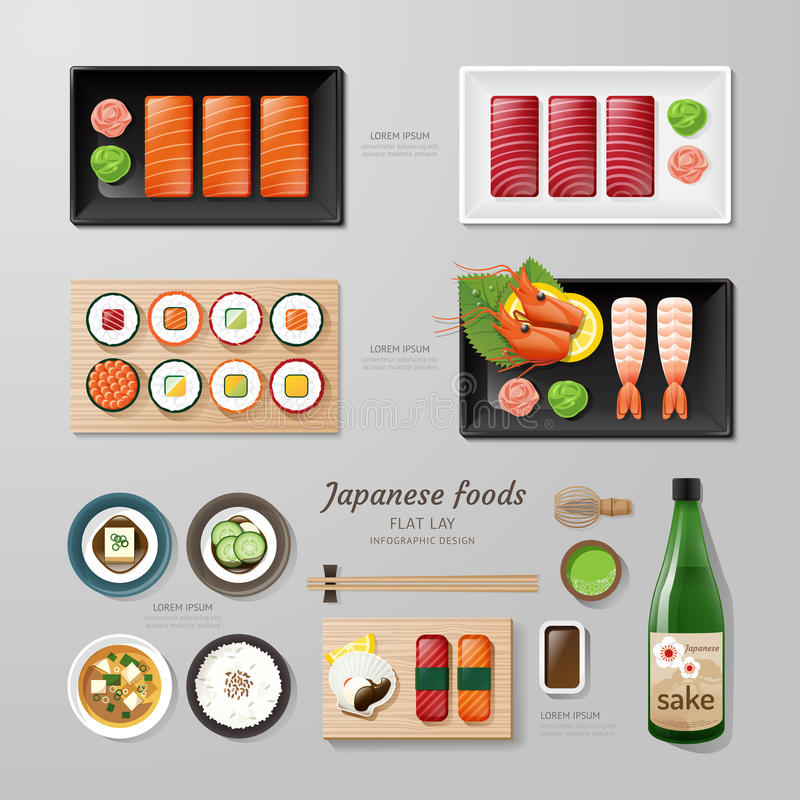 Infographic japanese foods business flat lay idea. Vector illustration hipster concept.can be used for layout, advertising and web design vector illustration