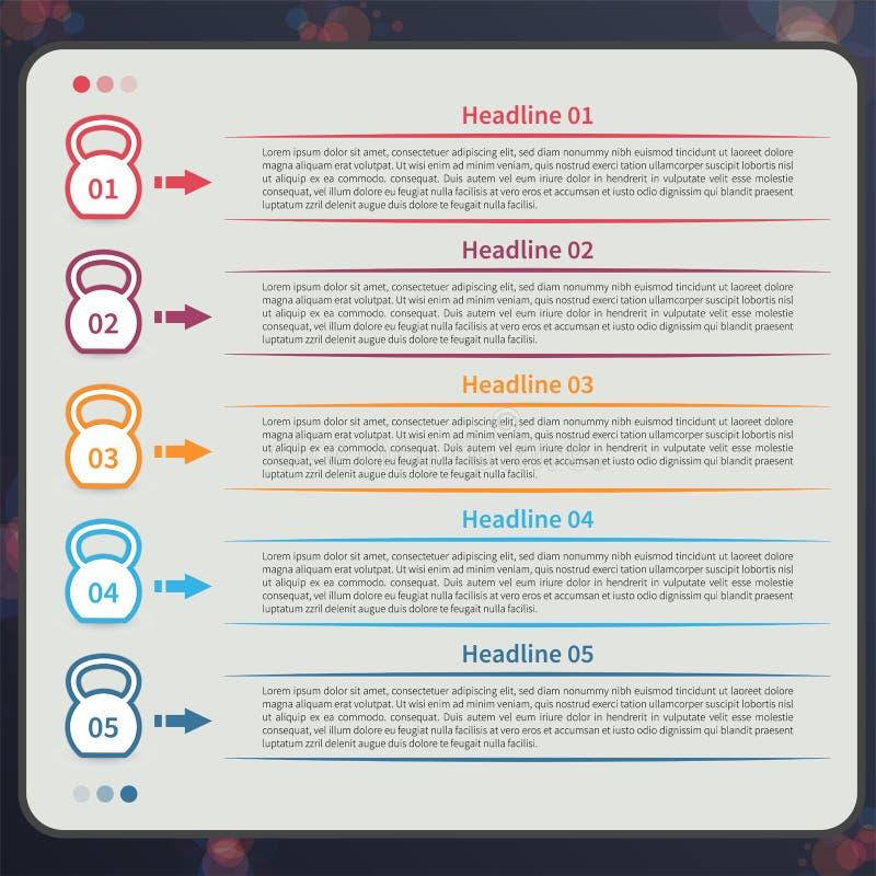 Infographic Kettlebell, timeline vektor illustrationer