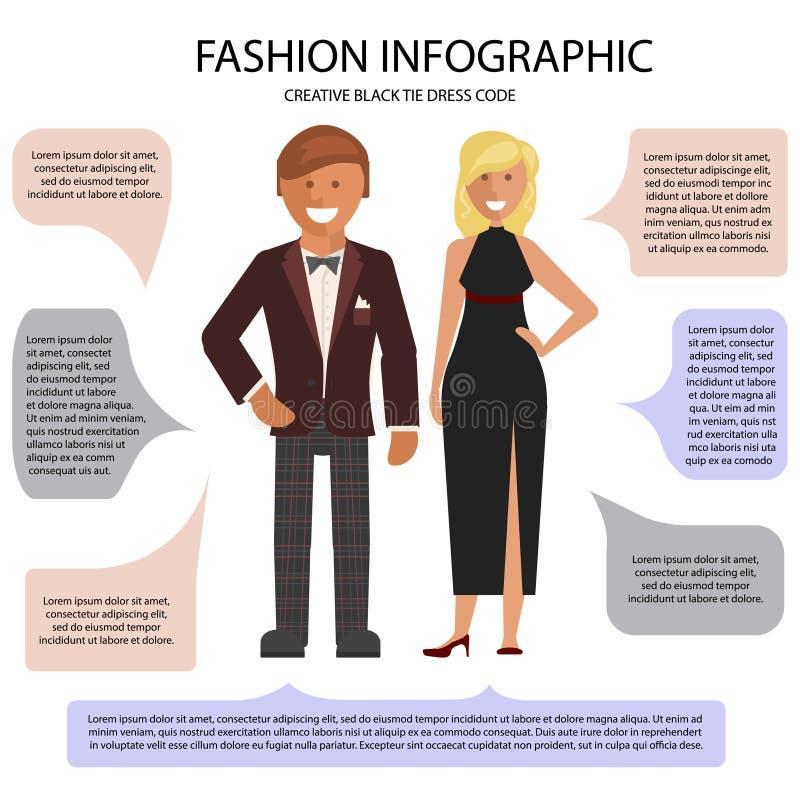 Infographic klänningstil vektor illustrationer