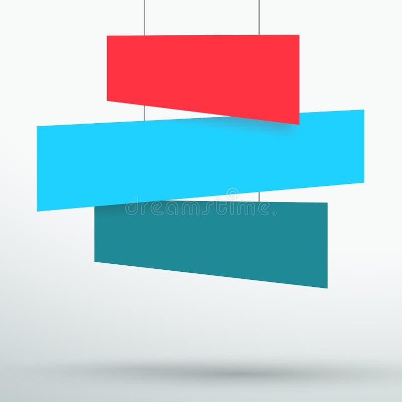 Infographic 3 Kleurrijke Titelvakjes die 3d Vector hangen stock illustratie