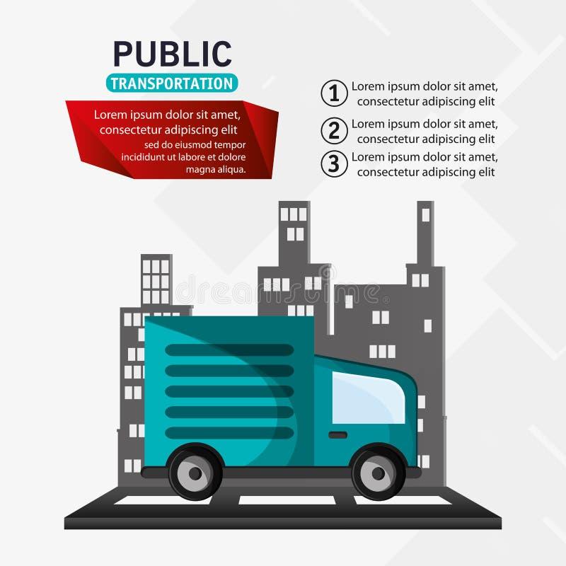 Infographic kollektivtrafiklastbilleverans stock illustrationer