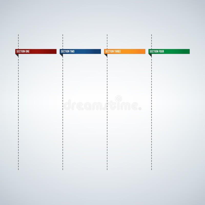 Infographic kolonner för textask eller banermall, färgrika flikar planlägger klart att skriva in din text Användbart för rengörin stock illustrationer
