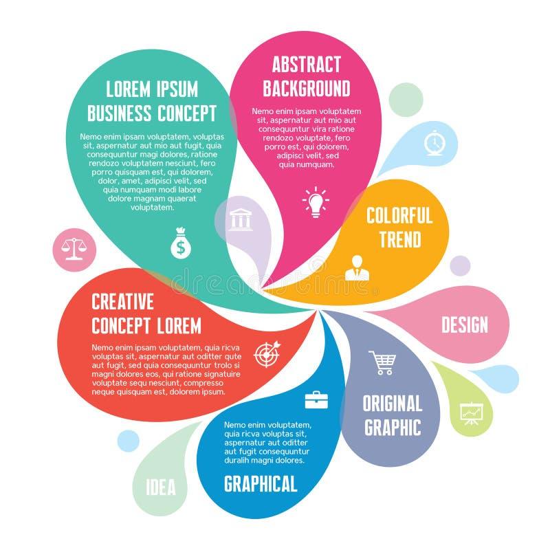 Infographic-Konzept - abstrakter Hintergrund - kreative Vektor-Illustration mit den bunten Blumenblättern und den Ikonen vektor abbildung