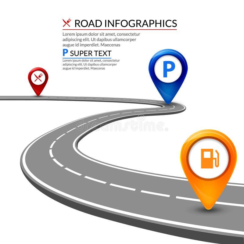 infographic Konzept der Straße 3d auf einem weißen Hintergrund Geschäftslandstraßen-Elementdesign lizenzfreie abbildung
