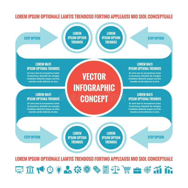 Infographic Konzept des Geschäfts - Vektorschablonenillustration Ursprünglicher kreativer Entwurf mit den Pfeilen, Kreisen, Blöck lizenzfreie abbildung