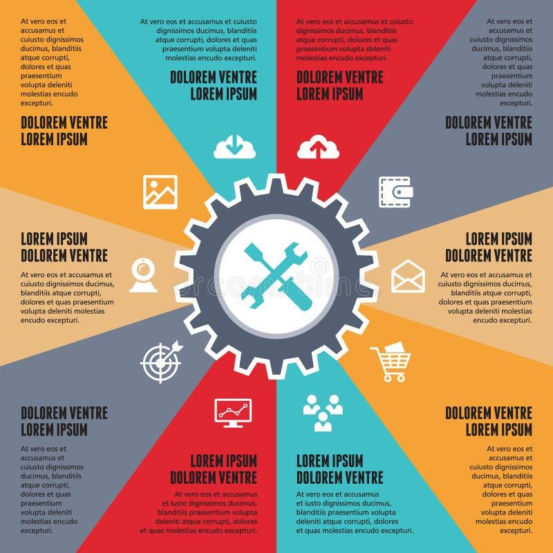 Infographic-Konzept für Darstellung - SEO-Internet-Vektorentwurf mit Ikonen