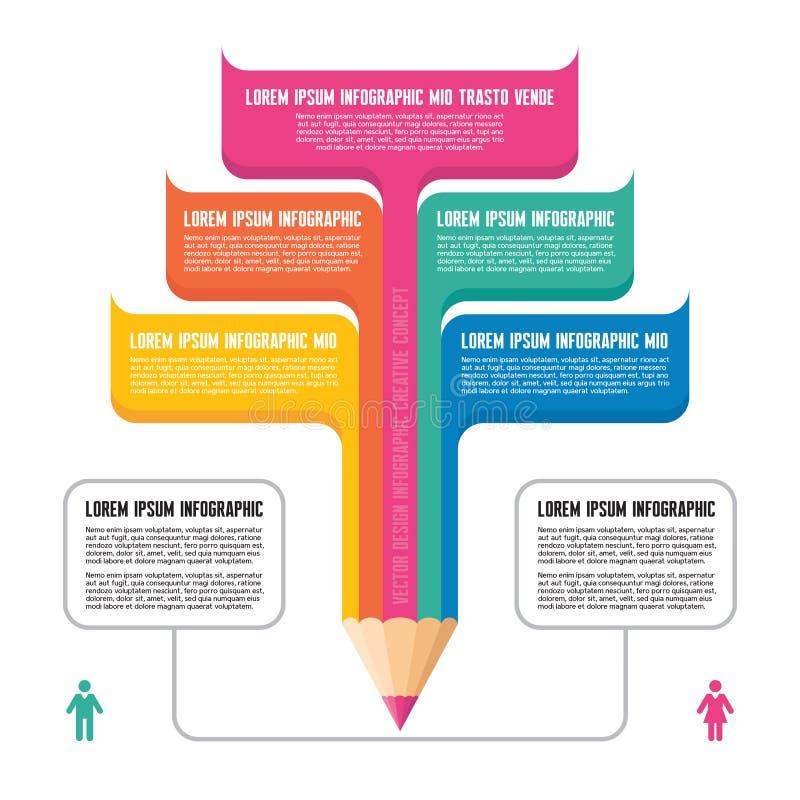 Infographic-Konzept - kreatives Design - Bleistift-Kranke vektor abbildung