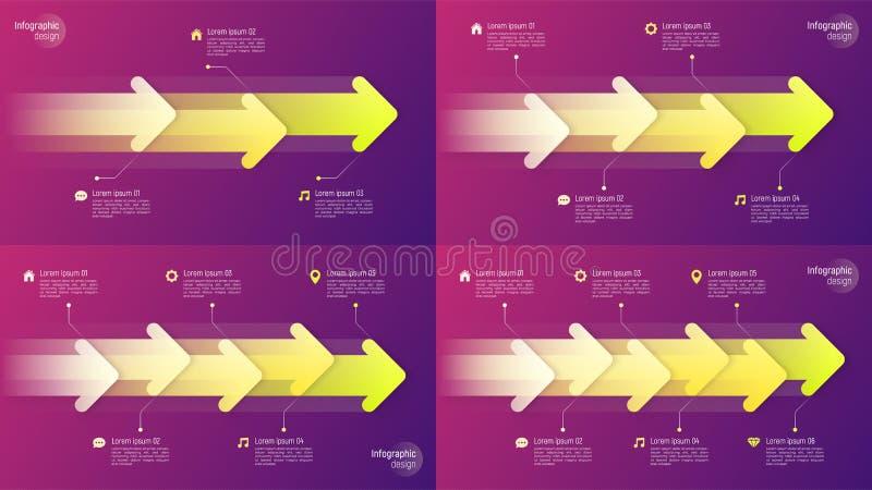Infographic Konzepte der Papierartzeitachse mit dynamischen Pfeilen an lizenzfreie abbildung