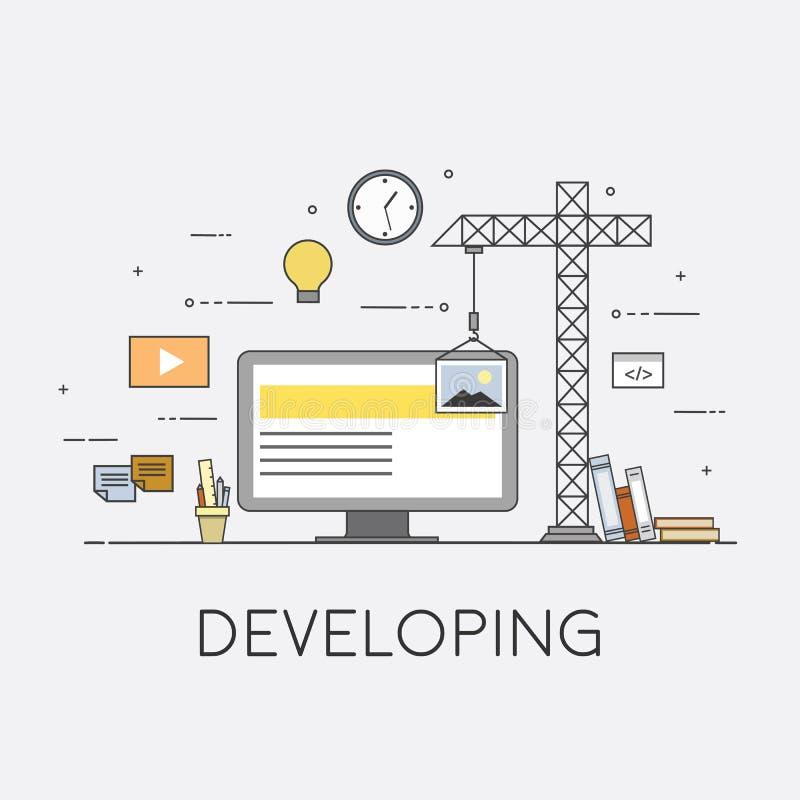 Infographic Konzeptvektor des flachen Designnetzes des Mobiles UI UX Kran, der Schnittstelle auf Schirm schafft Benutzerschnittst lizenzfreie abbildung