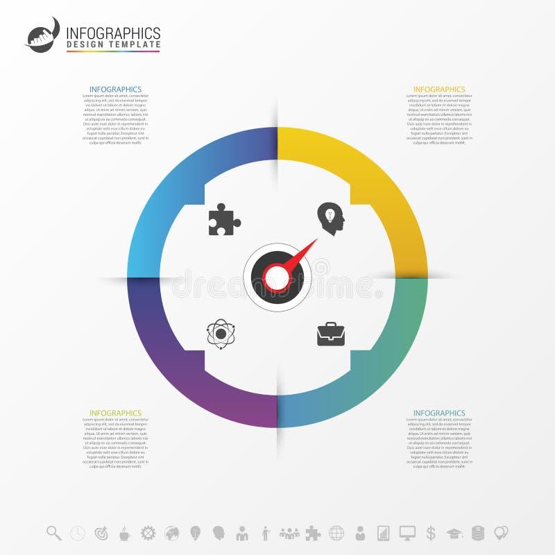 Infographic-Kreis mit 4 Wahlen Vektor stock abbildung