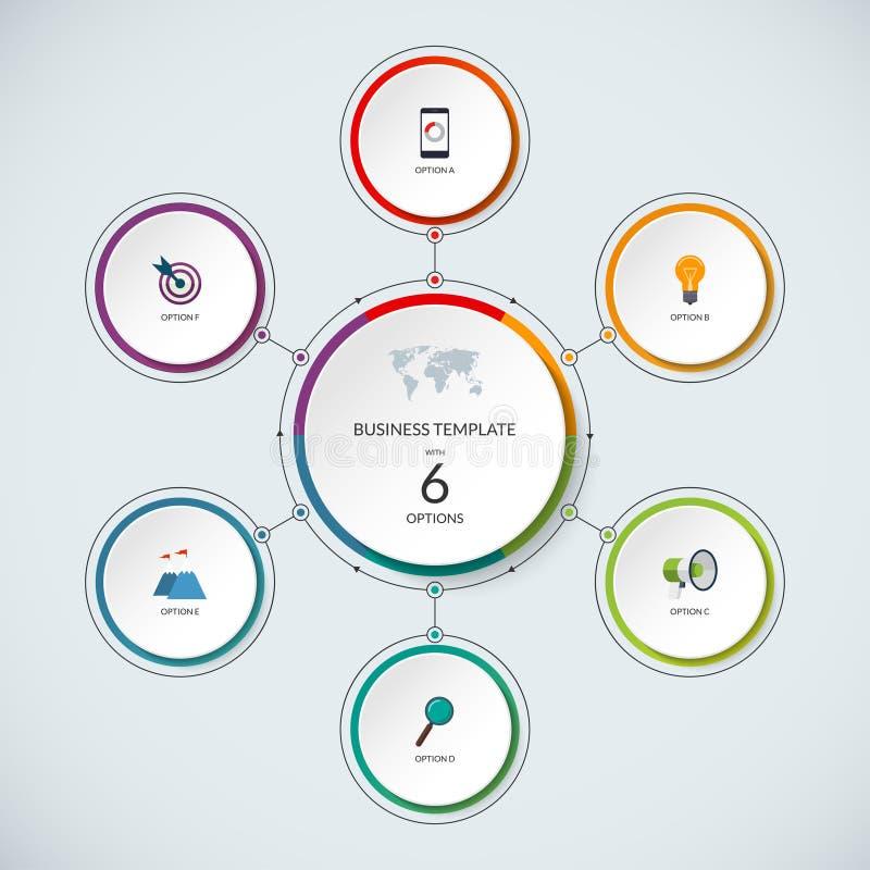 Infographic-Kreis Moderne minimalistic Schablone mit 6 Wahlen lizenzfreie abbildung