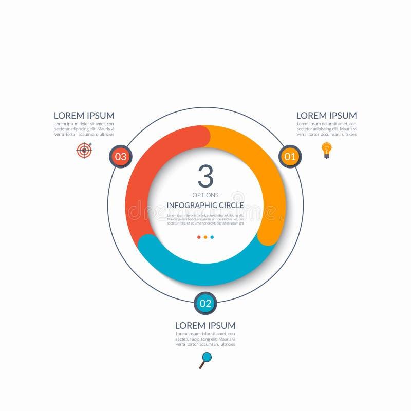 Infographic-Kreis 3 Wahlen, Schritte, Teile Geschäftskonzept für Diagramm, Diagramm, Diagramm Rand der Farbband-, Lorbeer- und Ei stock abbildung