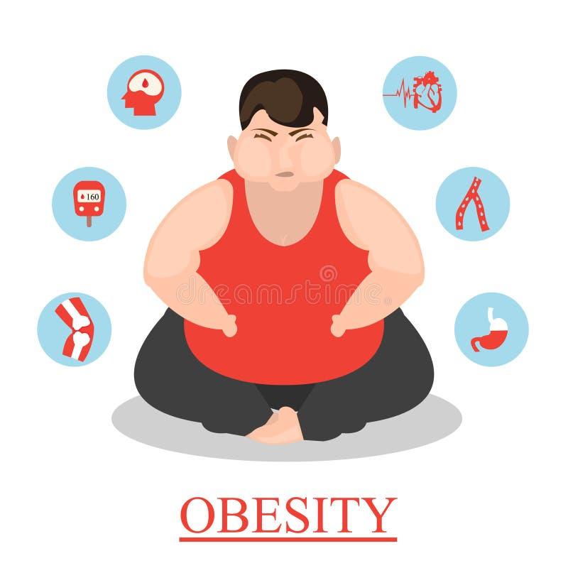 infographic kreskówki otyłości ilustracja ilustracji