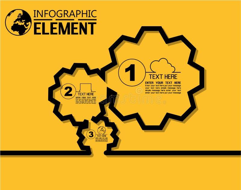 Infographic kreskowego stylu prosty szablon z krokami rozdziela opci przekładnię ilustracja wektor