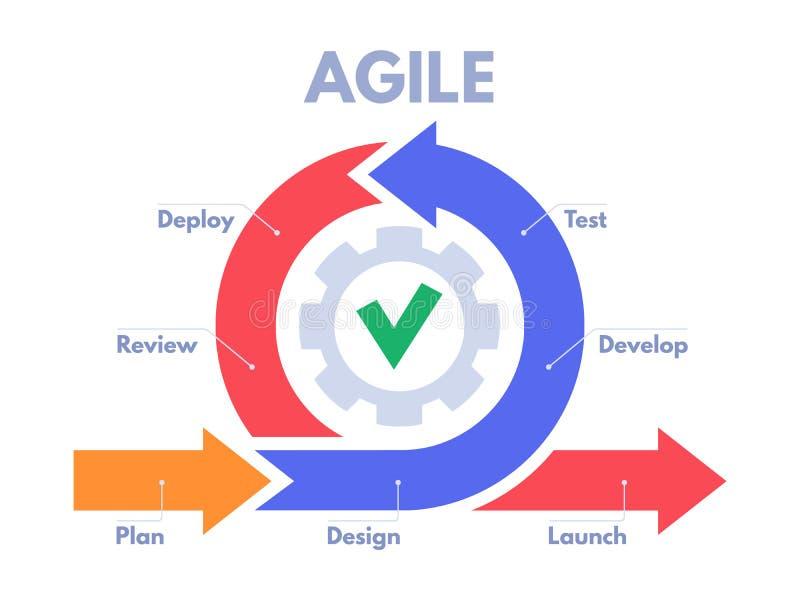 Infographic lättrörlig utvecklingsprocess Programvarubärare sprintar, produktledning, och klungan sprintar intrigvektorn royaltyfri illustrationer