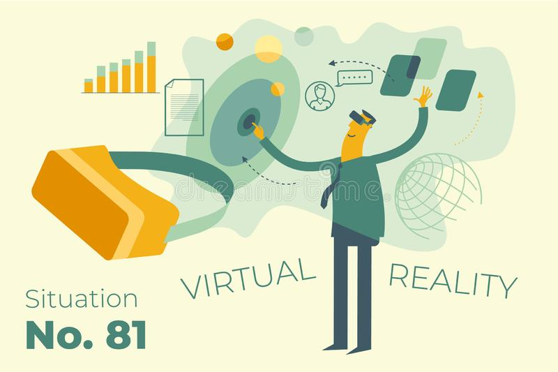 Infographic, landing page: IT, Internet, virtual reality. Cartoon character illustration for web design, presentation, infographic, landing page: IT, Internet stock illustration