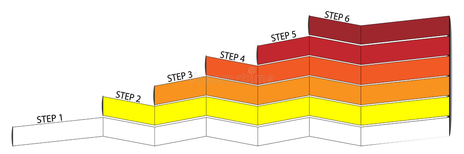 Infographic with 6 levels in different colours. Infographic bar with 6 steps in different colors, in white yellow orange red vector illustration