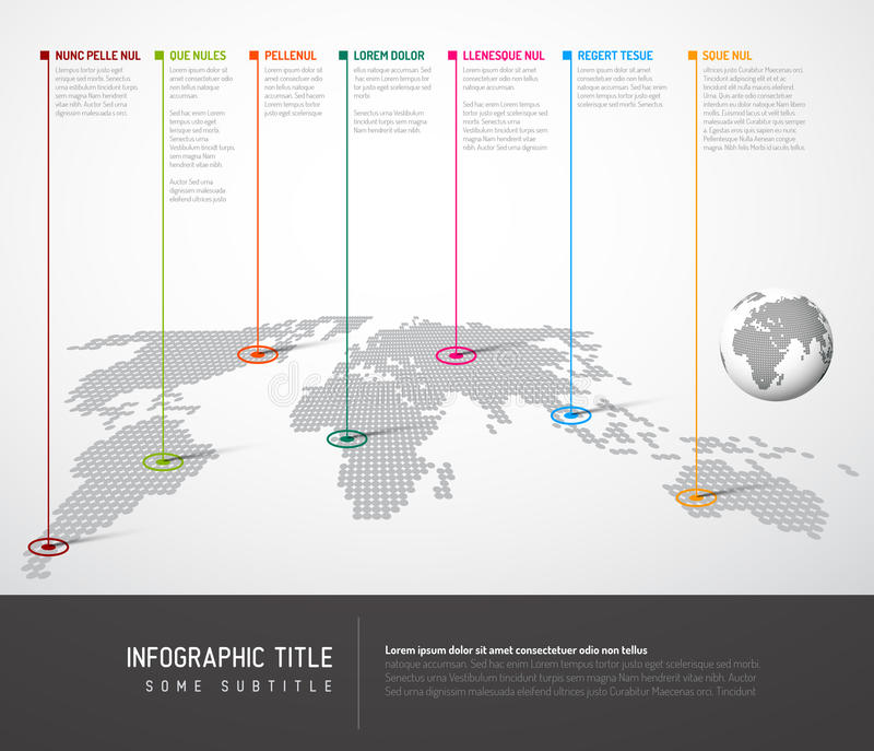 Infographic: Lichte Wereldkaart met wijzertekens vector illustratie