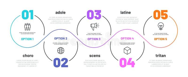 Infographic lijnstap het diagram van het 5 optieswerkschema, aantal infograph, processtappen brengt met lijnpictogrammen in kaart vector illustratie