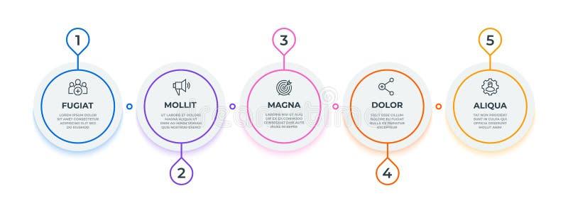 Infographic lijnstroom het werkschemadiagram van de 5 stappencirkel, mijlpaal bedrijfspresentatiemalplaatje Vectoroptie stock illustratie