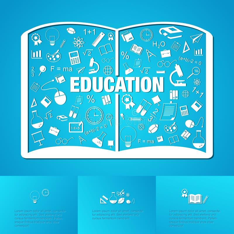 Infographic linéaire plat du manuel scolaire d'éducation de l'homme illustration libre de droits