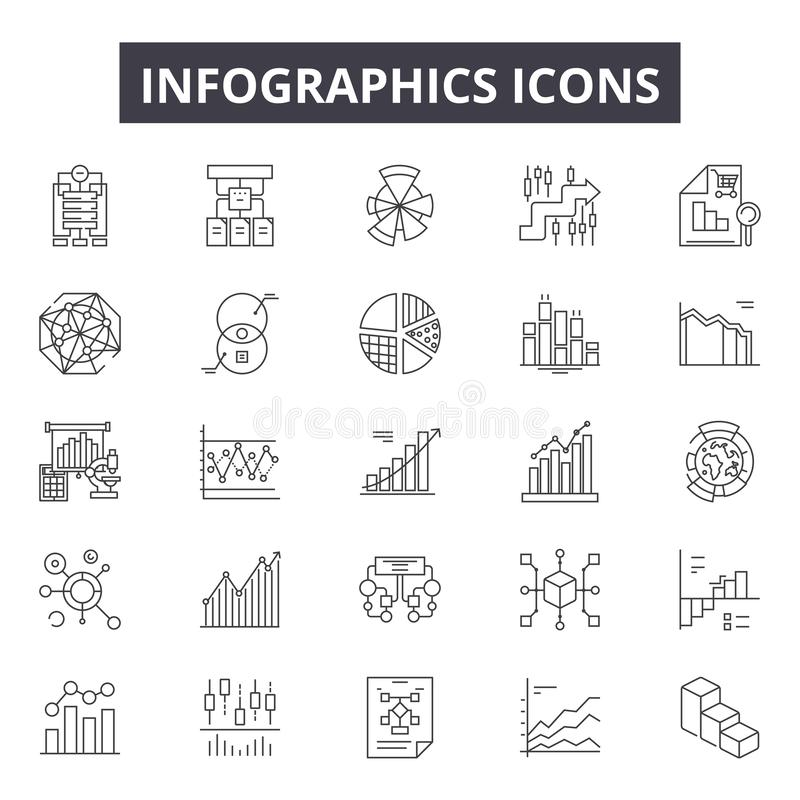 Infographic line icons for web and mobile design. Editable stroke signs. Infographic  outline concept illustrations. Infographic line icons for web and mobile royalty free illustration