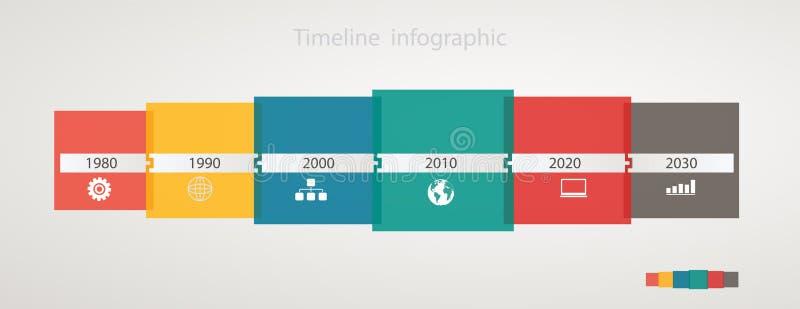 Infographic linia czasu z ikonami, krok po kroku roczna struktura ilustracja wektor