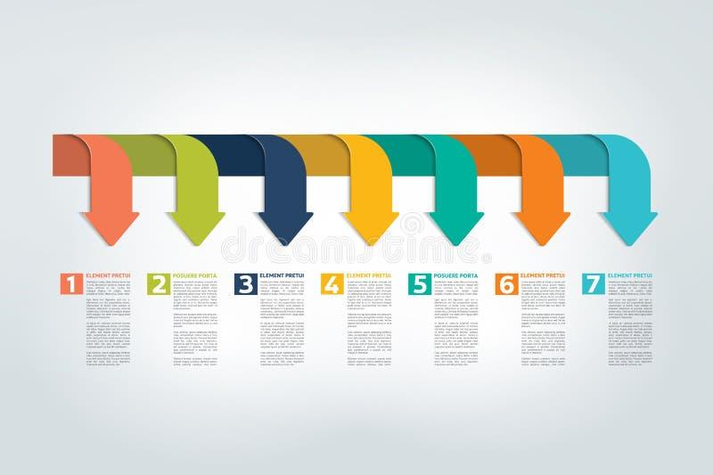 Infographic linii czasu raport, szablon, mapa, plan royalty ilustracja