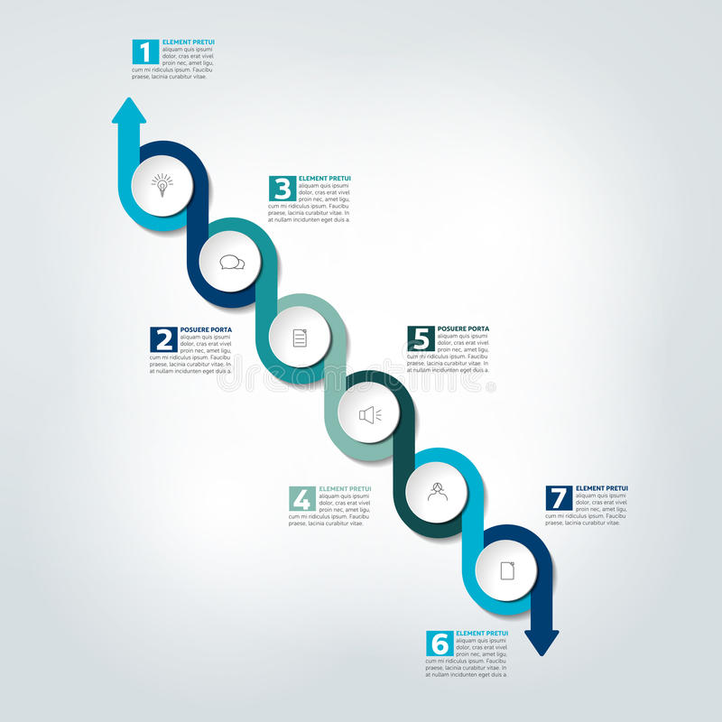 Infographic linii czasu raport, szablon, mapa, plan ilustracji