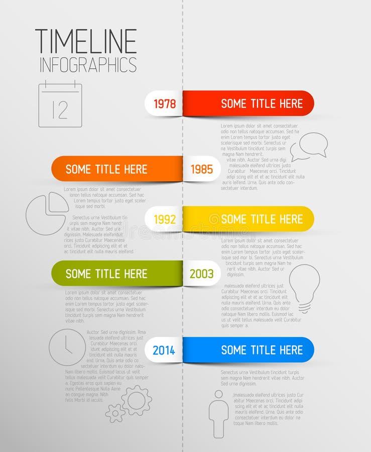 Infographic linii czasu raportu szablon z zaokrąglonymi etykietkami ilustracji