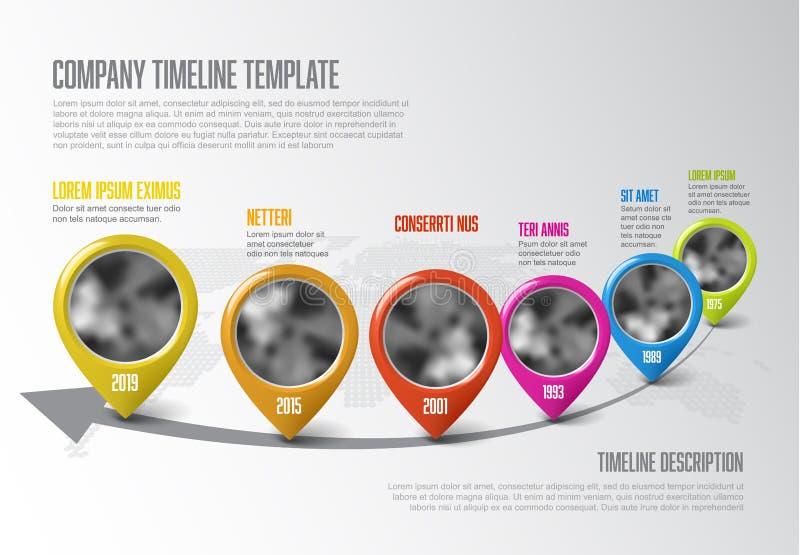 Infographic linii czasu szablon z pointerami ilustracja wektor