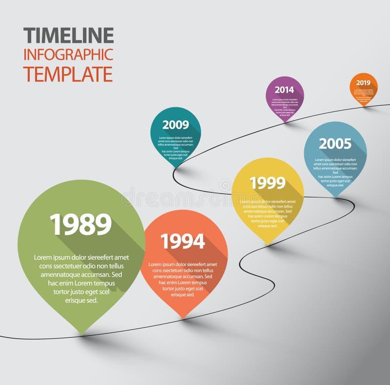 Infographic linii czasu szablon z pointerami royalty ilustracja