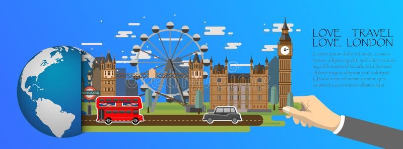 Infographic Londen, globaal met oriëntatiepunten van Engeland, vlakke stijl De liefde Londen van de liefdereis stock illustratie