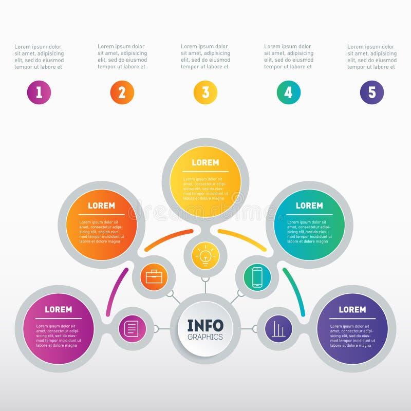 Infographic lub Biznesowa prezentacja z 5 opcjami Wektorowy dyna ilustracji