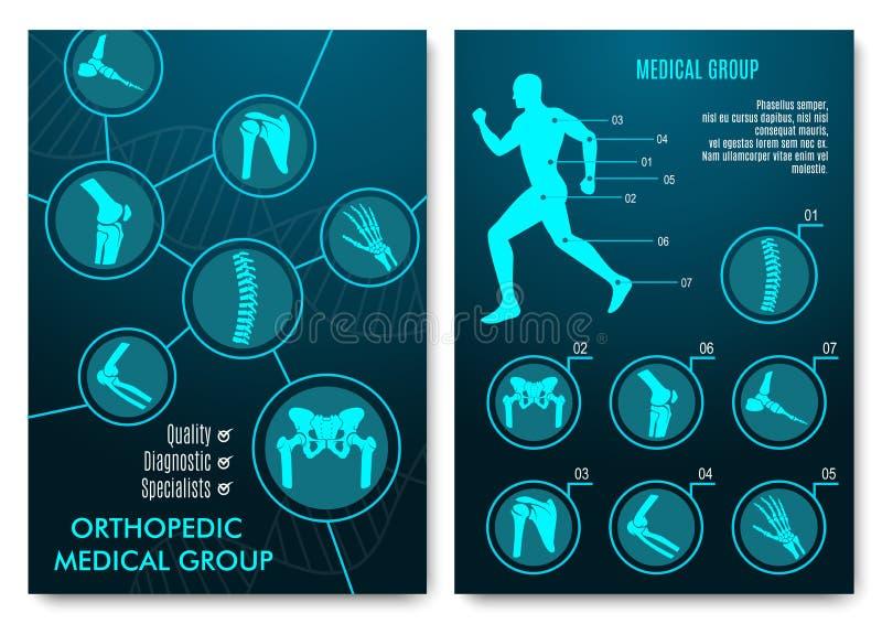Infographic médical avec les diagrammes orthopédiques d'anatomie illustration libre de droits