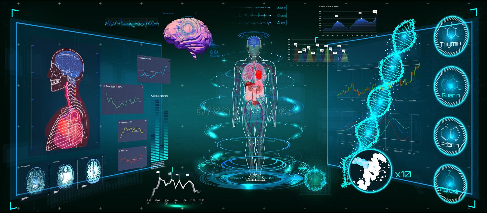 Infographic médical HUD illustration stock