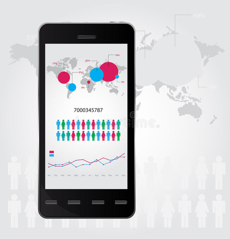 Infographic móvel. Jogo dos gráficos e dos bate-papos. Vecto ilustração stock