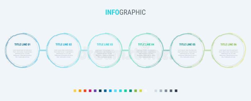 Infographic mall 6 alternativ cirklar design med härliga färger Vektortimelinebeståndsdelar för presentationer royaltyfri illustrationer