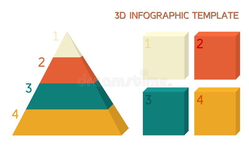 infographic mall 3D i fasta färger royaltyfri illustrationer