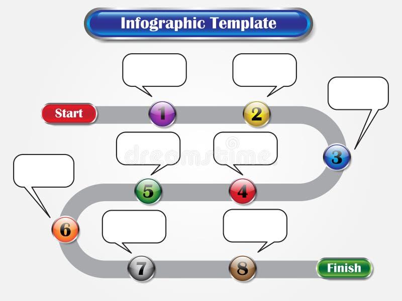 Infographic mall - följdknappar som milstolpe arkivbilder