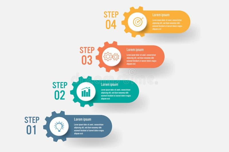 Infographic mall för affär med 4 alternativ, abstrakta beståndsdelar diagram eller processar och plan symbol för affär, vektoraff vektor illustrationer