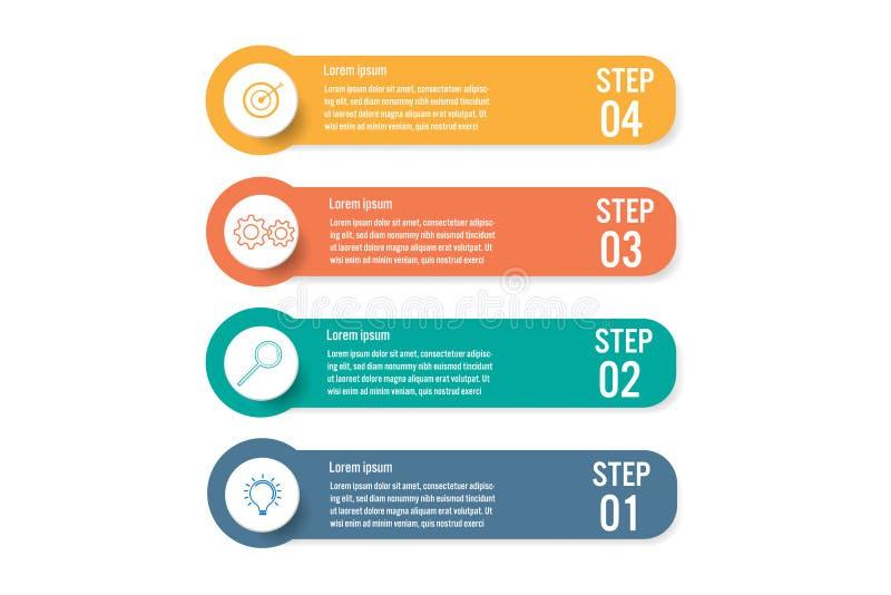 Infographic mall för affär med 4 alternativ, abstrakta beståndsdelar diagram eller processar och plan symbol för affär, vektoraff royaltyfri illustrationer