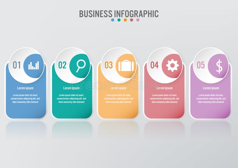 Infographic mall för affär med 5 alternativ, abstrakta beståndsdelar diagram eller processar och plan symbol för affär, vektoraff royaltyfri illustrationer
