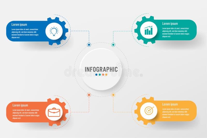 Infographic mall för affär med 4 kugghjulalternativ, abstrakta beståndsdelar diagram eller processar och plan symbol för affär, v vektor illustrationer