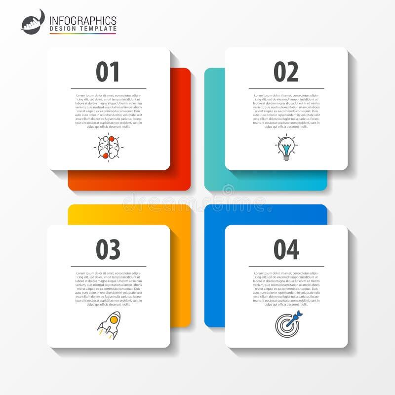 Infographic mall för affär med 4 moment fyrkant vektor royaltyfri illustrationer
