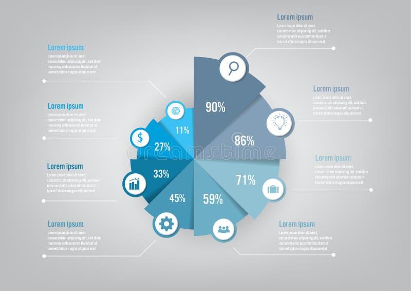 Infographic mall för affär med pajdiagrammet för 8 alternativ, abstrakta beståndsdelar diagram eller processar och plan symbol fö vektor illustrationer